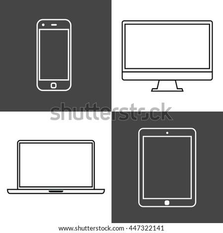 Digital devices set. iilustration - stock photo