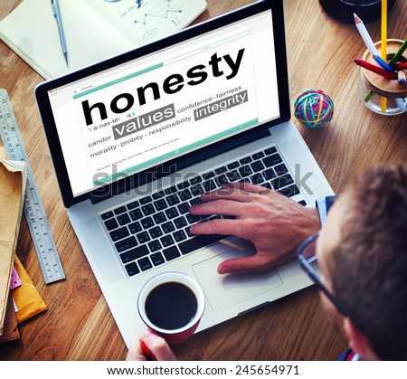 Digital Dictionary Honesty Values Integrity Concept - stock photo