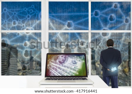 Digital disruption concept background. Laptop computer with digital code abstract on its screen against business man looking the city  with digital code outside building. - stock photo