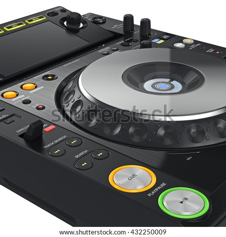 Digital dj music turntable mixer with buttons, close view. 3D graphic