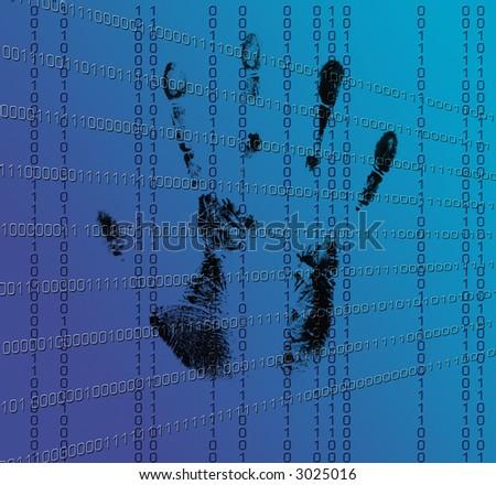 Digital DNA Hand-print - stock photo