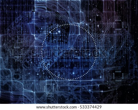 Digital Domain series. Backdrop of  fractal geometry structures, lines and numbers to complement your design on the subject of data processing, virtual reality, computers, science and math