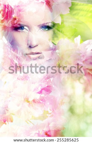 Digital double exposure of beautiful young woman's portrait and sakura flowers - stock photo
