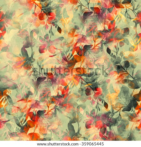 digital drawing and watercolor texture. imprint of vivid flowers. hand drawn seamless pattern. digital mixed media artwork for textiles, fabrics, souvenirs, packaging, greeting cards and scrapbooking - stock photo