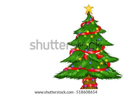 Digital Drawing Illustration Of Christmas Tree Merry