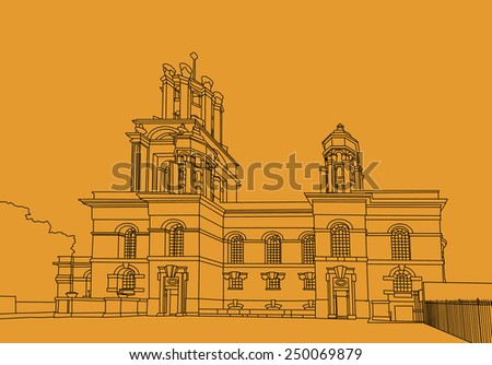 Digital drawing of St. George in the East is one of six Nicholas Hawksmoor (1661-1736) churches in London and was built from 1714 to 1729, with funding from the 1711 Act of Parliament.  - stock photo