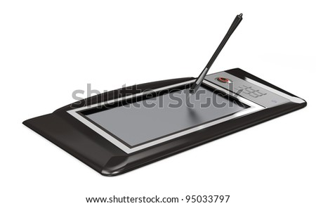 digital drawing tablet isolated on white. 3d rendered image