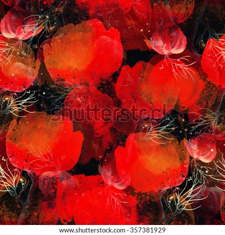 digital drawing, watercolor texture - imprint of wild vivid poppies - hand drawn seamless pattern - mixed media artwork for textiles, fabrics, souvenirs, packaging, greeting cards and scrapbooking - stock photo