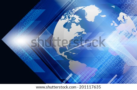 Digital earth  on abstract arrows background 	 - stock photo