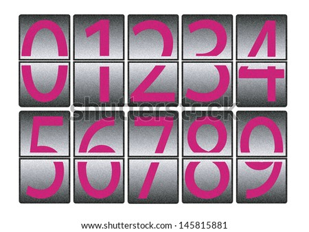 digital effect numbers 0 to 9 - texture - stock photo