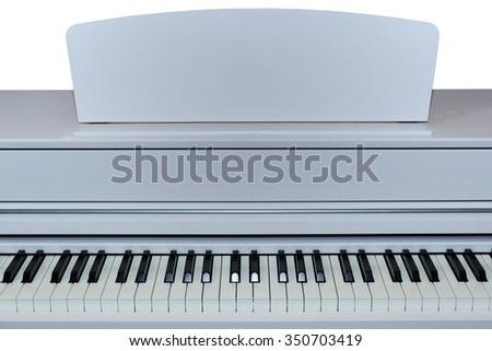 Digital electric piano keys closeup - stock photo