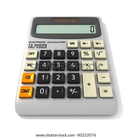 Digital Electronic Calculator. Isolated on white background - stock photo