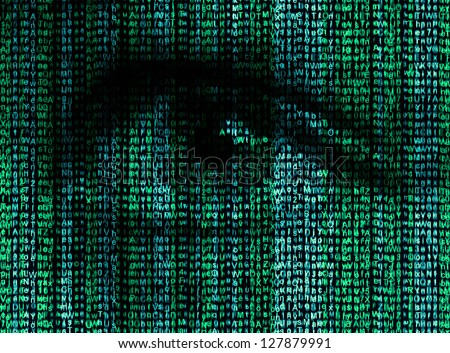 Digital eye reads the encrypted data - stock photo