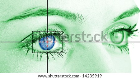 Digital eye scan. - stock photo