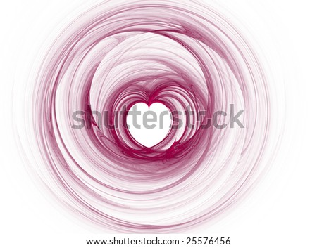 Digital fractal creation in shape of a heart for holiday or romantic themes on transparent background - stock photo