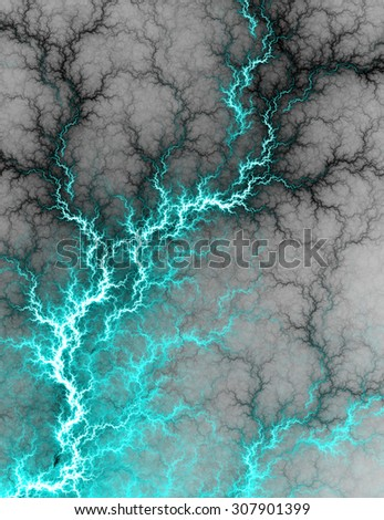Digital fractal of electric cyan lightning storm, hot electrical background. - stock photo