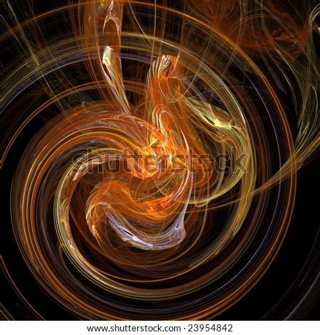 digital fractal on black background - stock photo