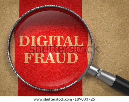 Digital Fraud Through Magnifying Glass on Old Paper with Red Vertical Line Background. - stock photo