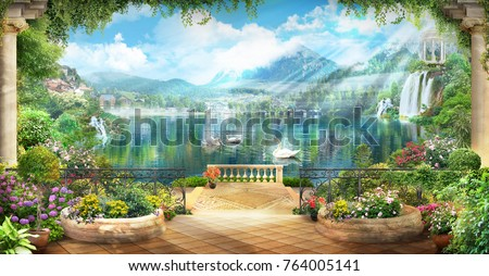 Digital fresco. Terrace with flowers and access to the lake with white swans and a view of the mountains.