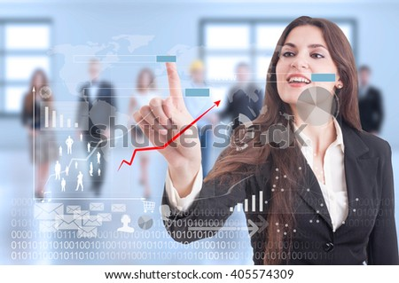 Digital futuristic concept with business woman pressing on transparent display. Future internet and technology - stock photo