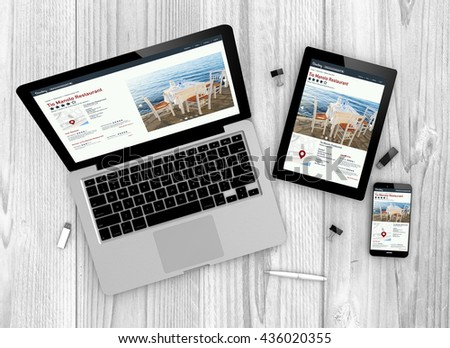 Digital generated devices over a wooden table. laptop, tablet and white smartphone with made up online directory interface. 3d rendering. - stock photo