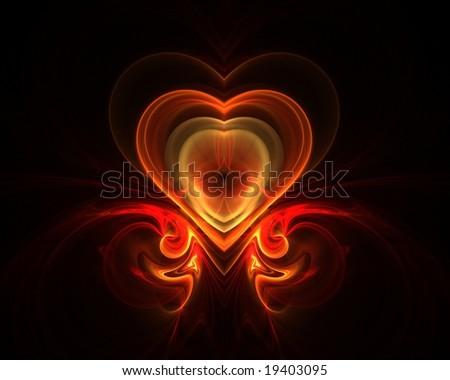 Digital generated fractal fire heart shape on dark background - stock photo