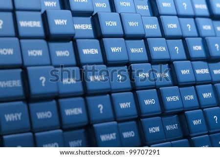 Digital generated group of cubes with different questions - stock photo