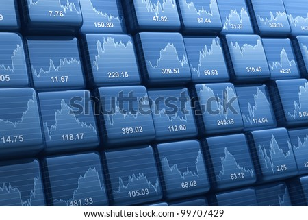Digital generated group of cubes with share prices - stock photo