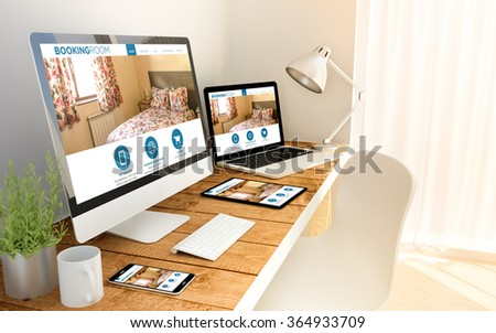Digital generated laptop, computer, tablet and smartphone over a wooden table with made up responsive booking room website. All screen graphics are made up. 3d illustration. - stock photo