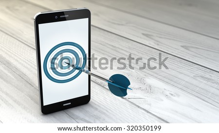 digital generated Mobile marketing and targeting. Smartphone with dartboard in the screen. - stock photo