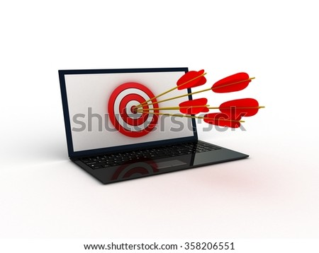 Digital generated target computer over white background - stock photo