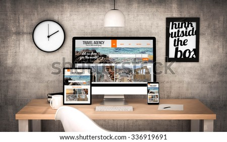 digital generated workplace desktop with  digital tablet, computer, laptop and various office objects travel agency website on screen. All screen graphics are made up. - stock photo