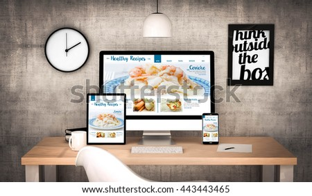 digital generated workplace desktop with  digital tablet, computer, laptop and various office objects healthy website on screen. All screen graphics are made up. 3d rendering. - stock photo