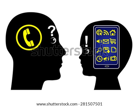 Digital Generation Gap. Child using smartphone with all the different functions compared to an adult person using the traditional telephone - stock photo