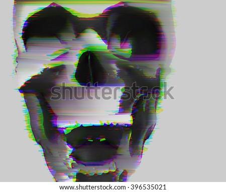 digital glitch scull background - stock photo