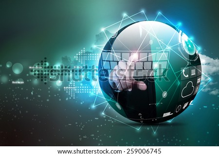 Digital globe in color background - stock photo