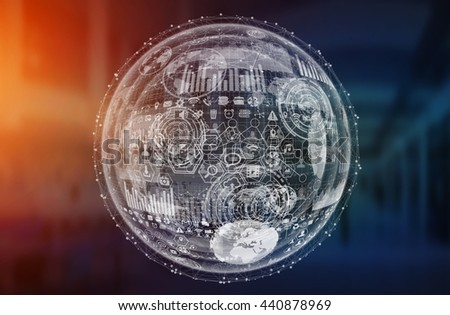 Digital graph interface on office background '3D rendering' - stock photo