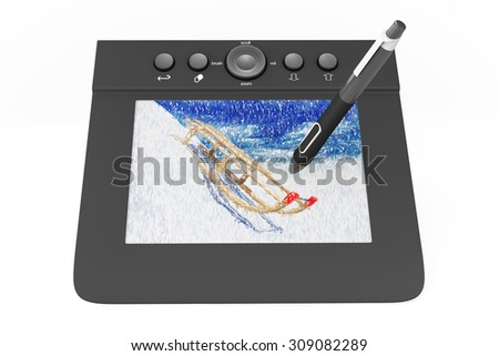 Digital Graphic Tablet with Pen and Sledges drawing on a white background - stock photo