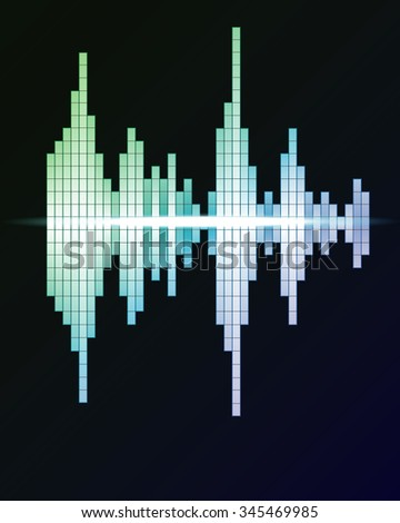 Digital green waveform - stock photo