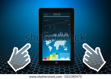 Digital hand point to Touch pad and world graph report - stock photo