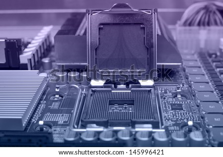 Digital hardware.electronic circuit close-up - stock photo