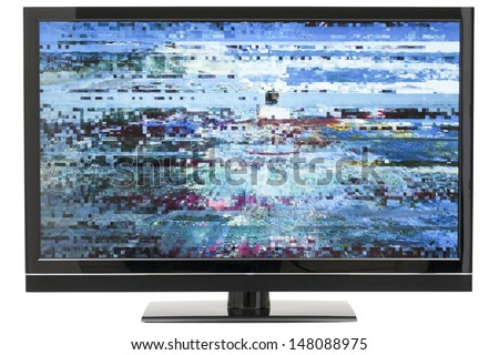 Digital HD LCD TV with Distorted Picture on Screen and Background Clipping Path - stock photo