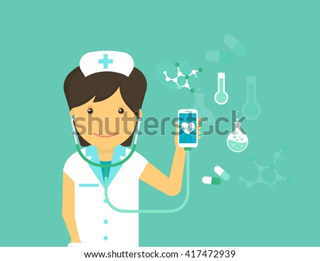Digital health flat modern illustration of mobile medicine with female doctor wearing uniform and smiling and smartphone with medicine symbols around such as blood pressure, pulse and pills - stock photo