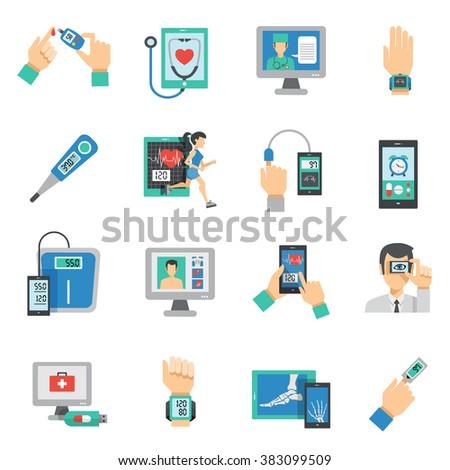 Digital Health Icons Flat Set - stock photo