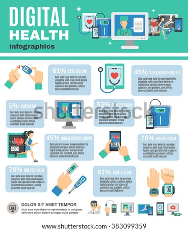 Digital Health Infographics - stock photo