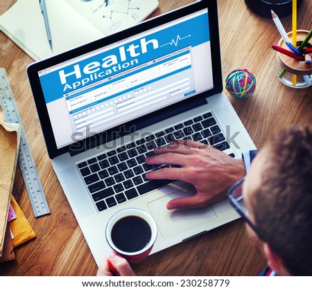 Digital Health Insurance Application Concept - stock photo