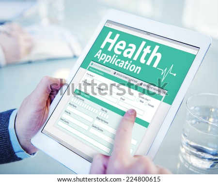 Digital Health Insurance Application Form Concept - stock photo