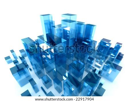 digital high tech abstract city - stock photo