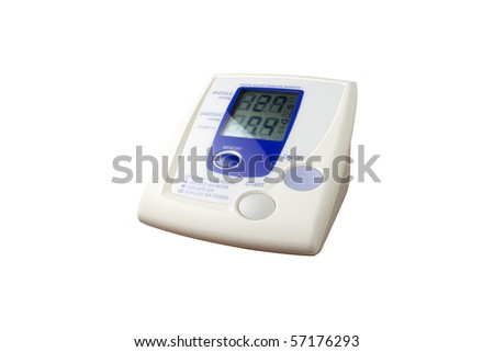 Digital home blood pressure meter isolated - stock photo