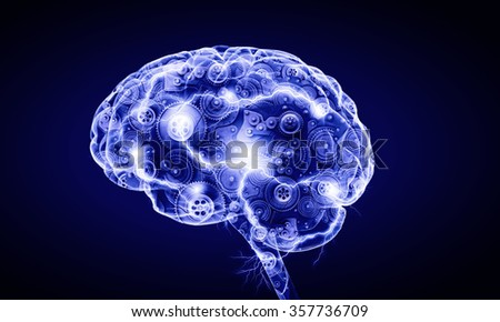 Digital human brain - stock photo